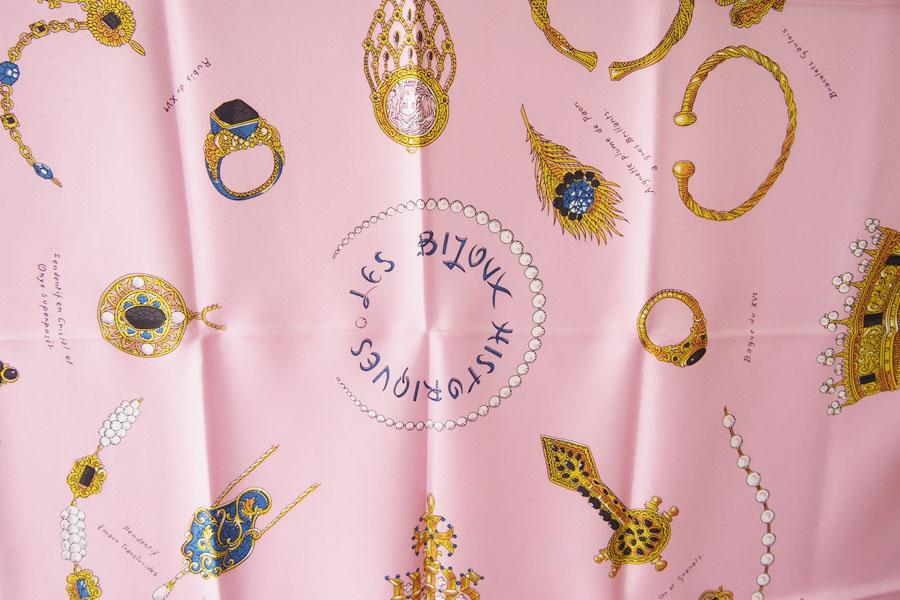 マニプリ|manipuri|プリントシルクスカーフ|BIJOUX|ピンク|88cm×88cmイメージ06