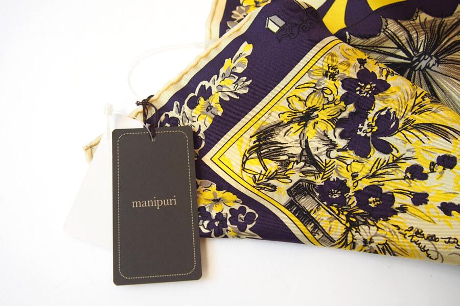 マニプリ|manipuri|プリントシルクスカーフ|ベージュ×バイオレットイメージ06