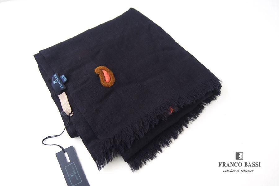 フランコバッシ|Franco Bassi|ペイズリー刺繍ウールストール|ネイビーイメージ01