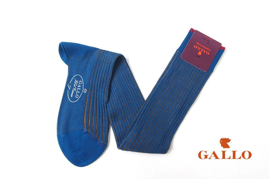 ガッロ|GALLO|コットン ロングホース ソックス|T2003|ブルー×ブラウンイメージ01