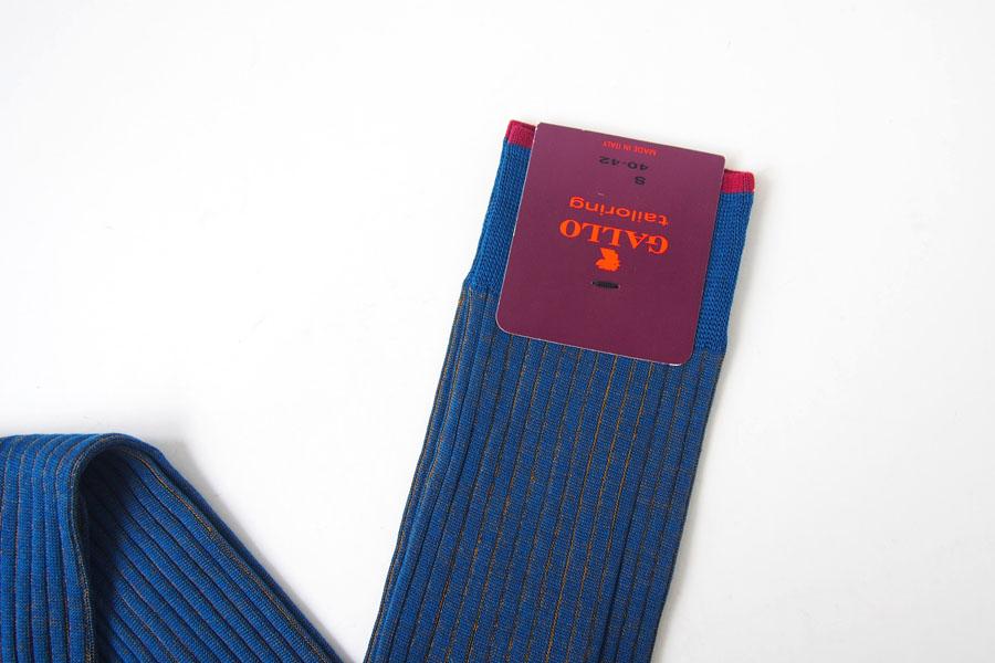 ガッロ|GALLO|コットン ロングホース ソックス|T2003|ブルー×ブラウンイメージ03