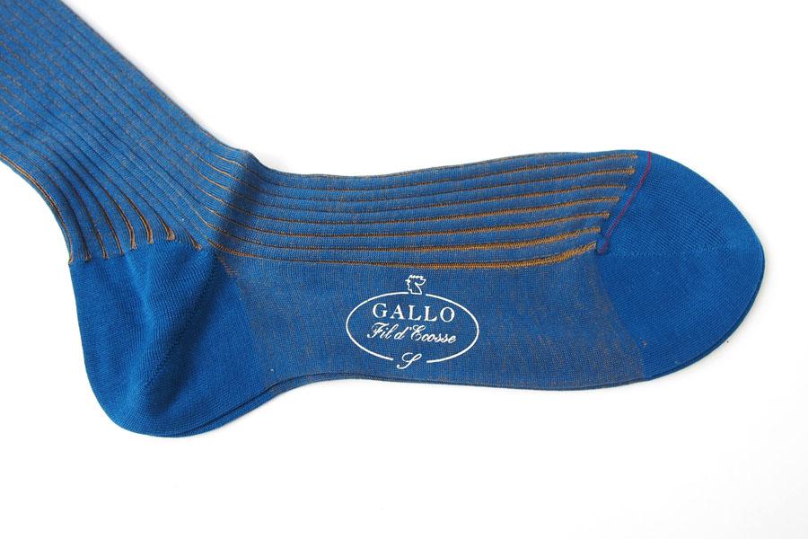 ガッロ|GALLO|コットン ロングホース ソックス|T2003|ブルー×ブラウンイメージ04