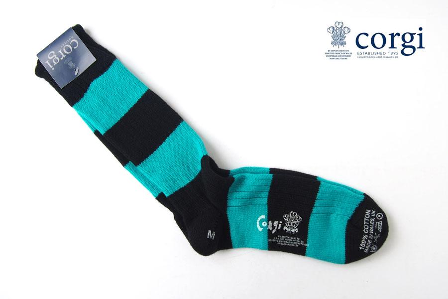 コーギー corgi ソフトコットンカジュアルソックス 靴下 ボーダー柄 ブラック×ブルーグリーンイメージ01