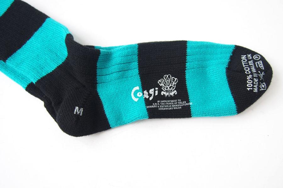 コーギー corgi ソフトコットンカジュアルソックス 靴下 ボーダー柄 ブラック×ブルーグリーンイメージ02