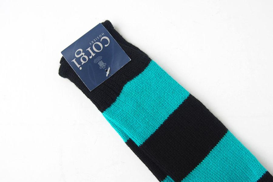 コーギー corgi ソフトコットンカジュアルソックス 靴下 ボーダー柄 ブラック×ブルーグリーンイメージ03
