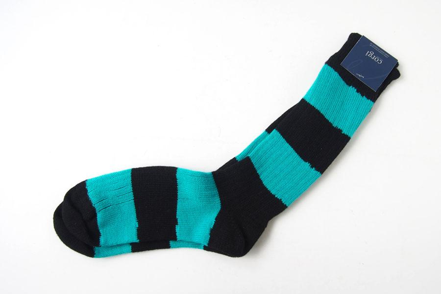 コーギー corgi ソフトコットンカジュアルソックス 靴下 ボーダー柄 ブラック×ブルーグリーンイメージ04
