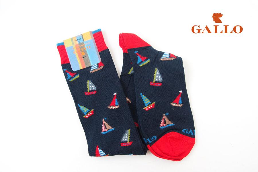 ガッロ|GALLO|ロングホース ソックス|AP507718|ヨット柄|ネイビーイメージ01