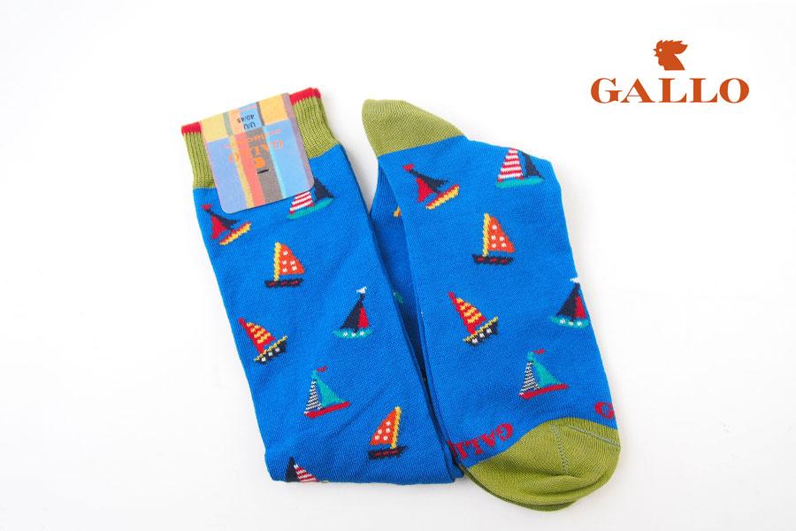 ガッロ|GALLO|ロングホース ソックス|AP507718|ヨット柄|ブルーイメージ01