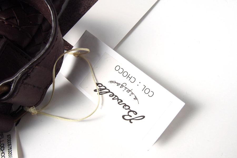 ティベリオ・フェレッティ TIBERIO FERRETTI ネイビーレザーイントレチャートショルダーバッグ  Borsello チョコイメージ05