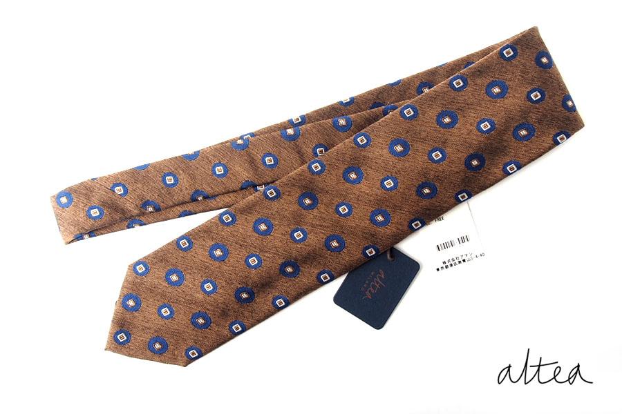 アルティア|ALTEA|シルク×コットン小紋柄ネクタイ|ブラウンイメージ01
