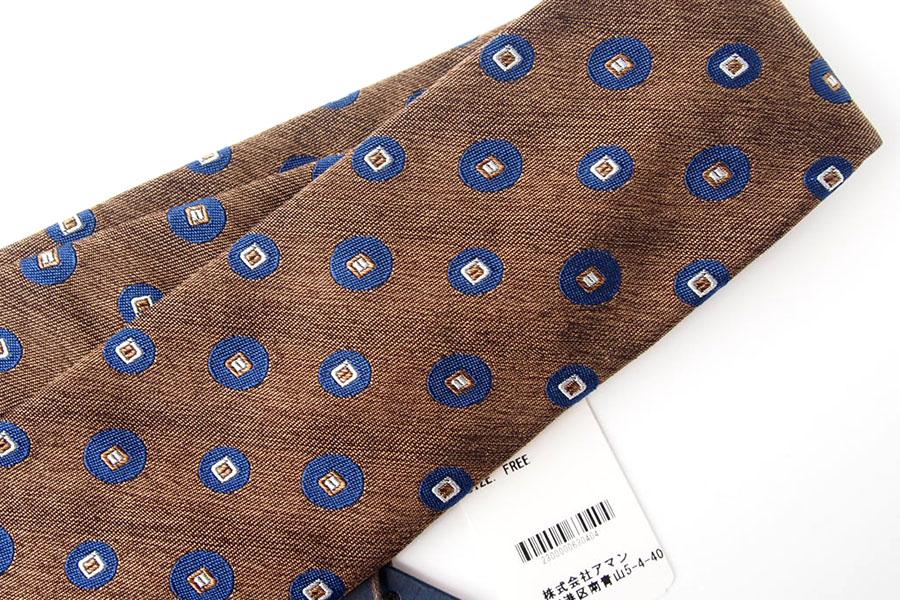 アルティア|ALTEA|シルク×コットン小紋柄ネクタイ|ブラウンイメージ02