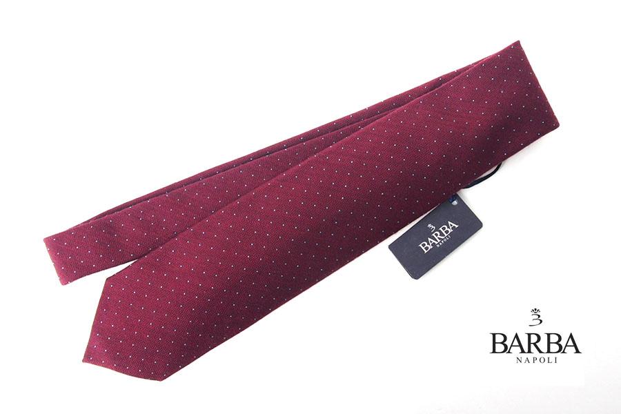 バルバ|BARBA|ウール×シルクドット柄ネクタイ|ボルドーイメージ01