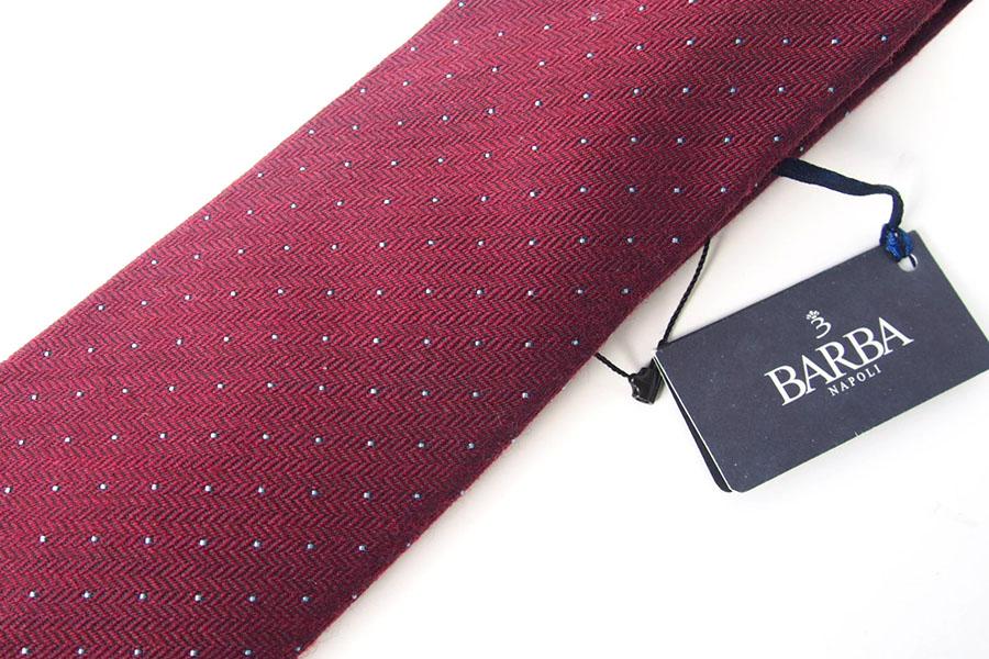 バルバ|BARBA|ウール×シルクドット柄ネクタイ|ボルドーイメージ06