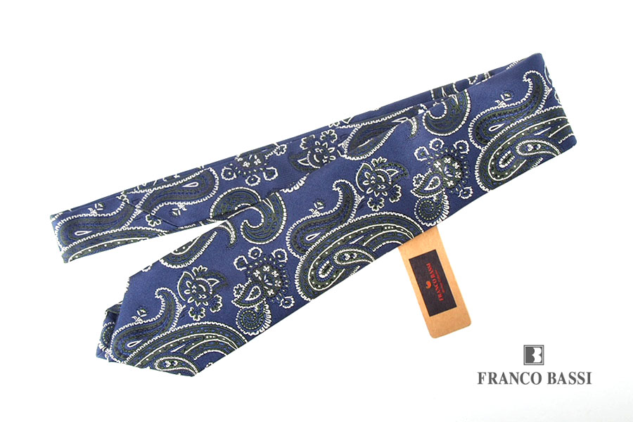 フランコバッシ|Franco Bassi|ビッグペイズリー柄 シルクネクタイ|ネイビー×グリーンイメージ01