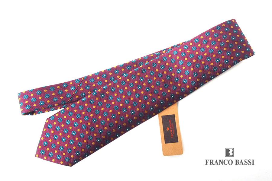 フランコバッシ Franco Bassi フラワー×ドット柄 シルクネクタイ ボルドーイメージ01
