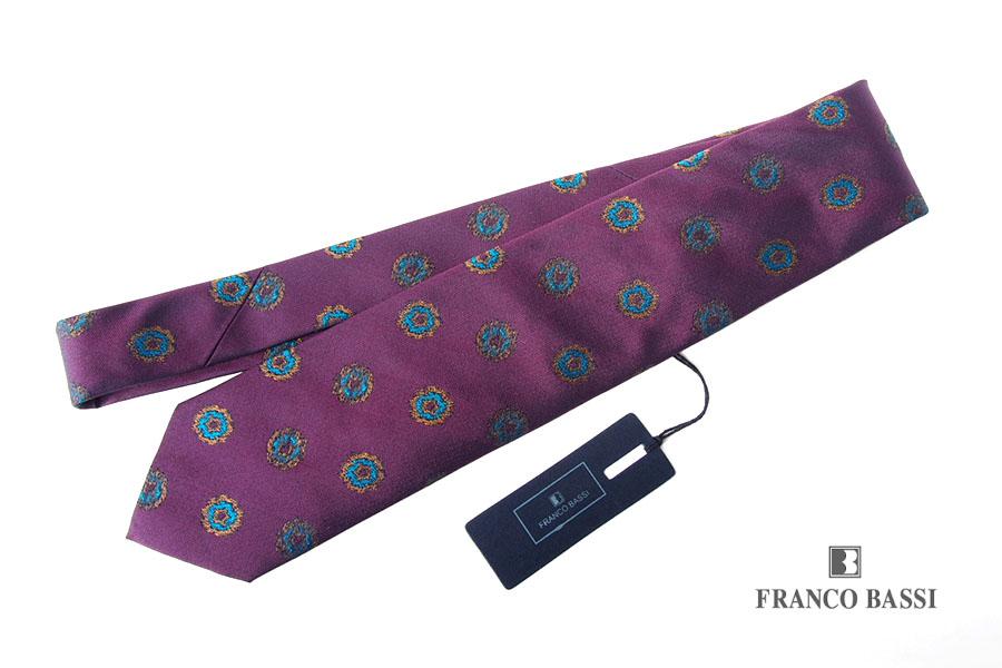 フランコバッシ|Franco Bassi|小紋柄 シルクネクタイ|パープルイメージ01