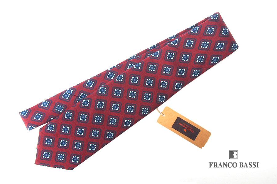 フランコバッシ|Franco Bassi|プリントフラワー小紋柄 シルクネクタイ|ボルドーイメージ01