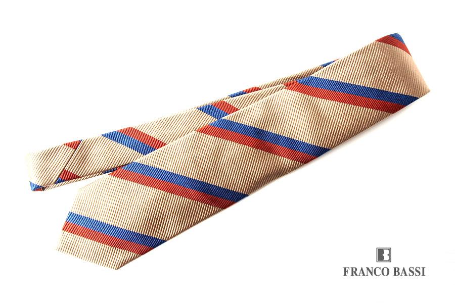 フランコバッシ|Franco Bassi|レジメンタルシルクネクタイ|ベージュ×オレンジ×ブルーイメージ01