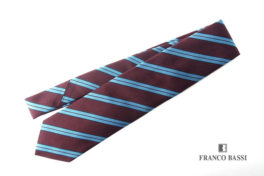 フランコバッシ|Franco Bassi|レジメンタルシルクネクタイ|ボルドー×ブルーイメージ01