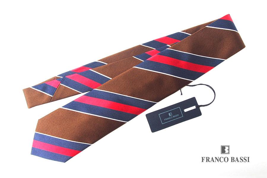 フランコバッシ|Franco Bassi|レジメンタルシルクネクタイ|ブラウン×レッド×ネイビーイメージ01