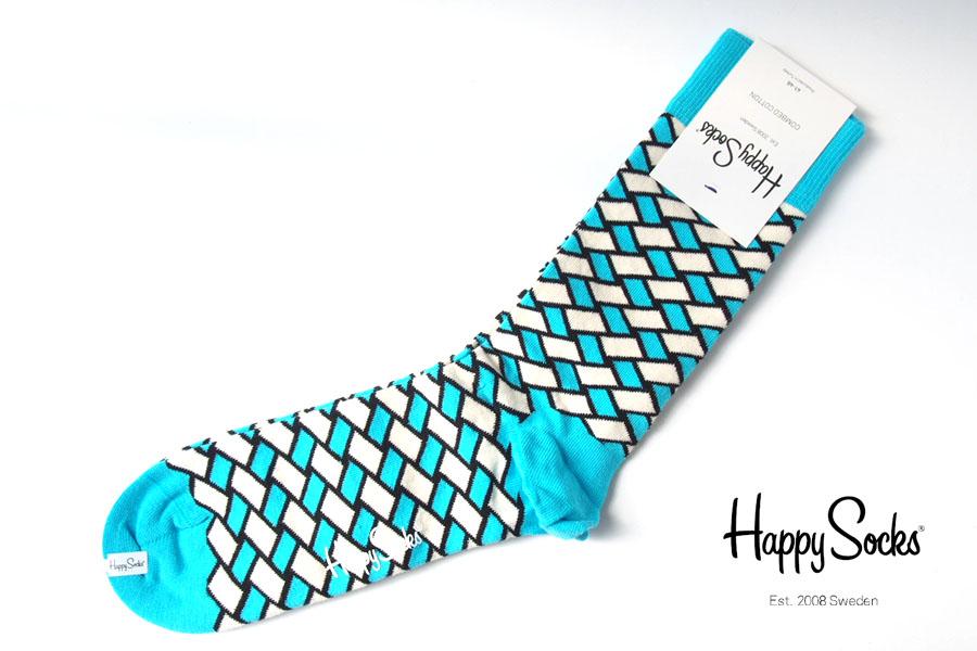 ハッピーソックス happy socks クルー丈カジュアルソックス バスケット柄ソックス ブルー 60-5043イメージ01
