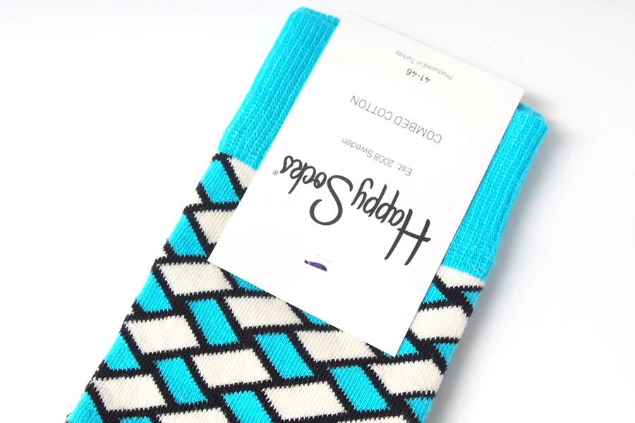 ハッピーソックス happy socks クルー丈カジュアルソックス バスケット柄ソックス ブルー 60-5043イメージ02