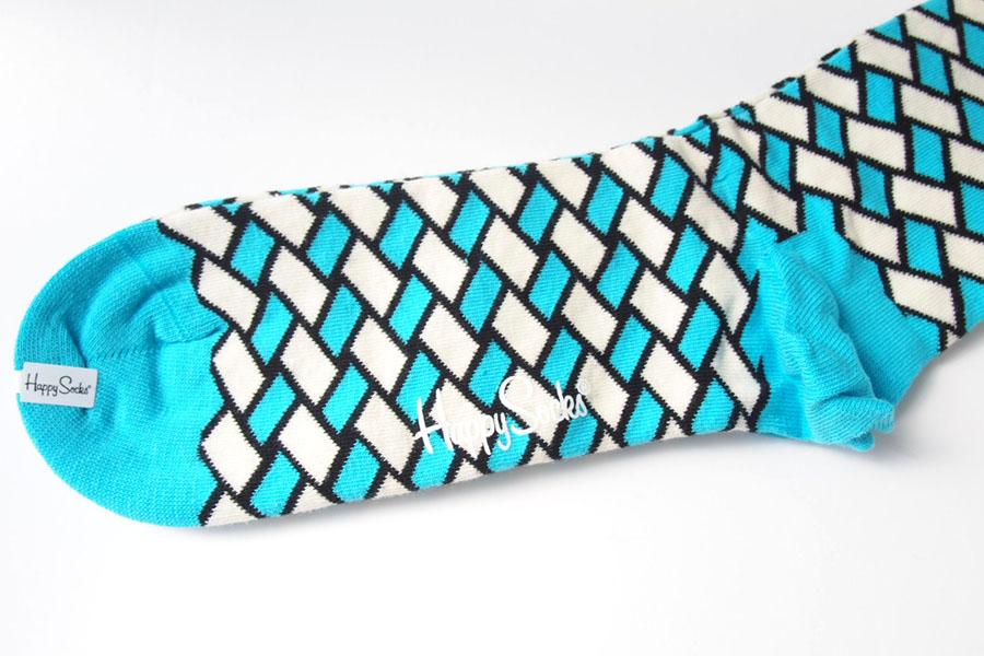 ハッピーソックス happy socks クルー丈カジュアルソックス バスケット柄ソックス ブルー 60-5043イメージ03