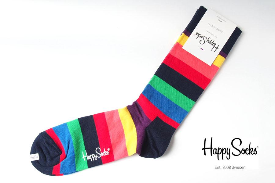 ハッピーソックス|happy socks|クルー丈カジュアルソックス|ボーダー柄ソックス|マルチ|60-5081イメージ01
