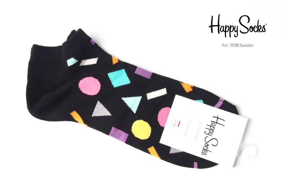 ハッピーソックス|happy socks|ショート丈スニーカーソックス|オブジェクト柄ソックス|ブラック|60-5311イメージ01