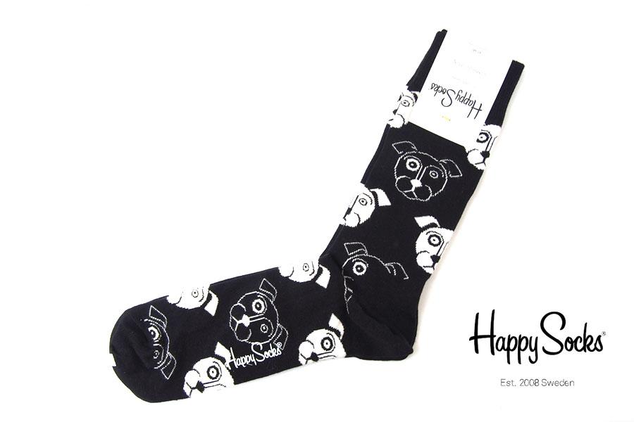 ハッピーソックス happy socks クルー丈カジュアルソックス ドッグ柄ソックス ブラック 10111023イメージ01
