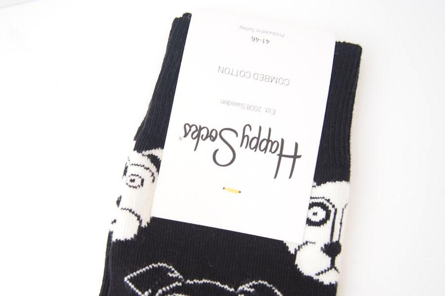 ハッピーソックス happy socks クルー丈カジュアルソックス ドッグ柄ソックス ブラック 10111023イメージ02