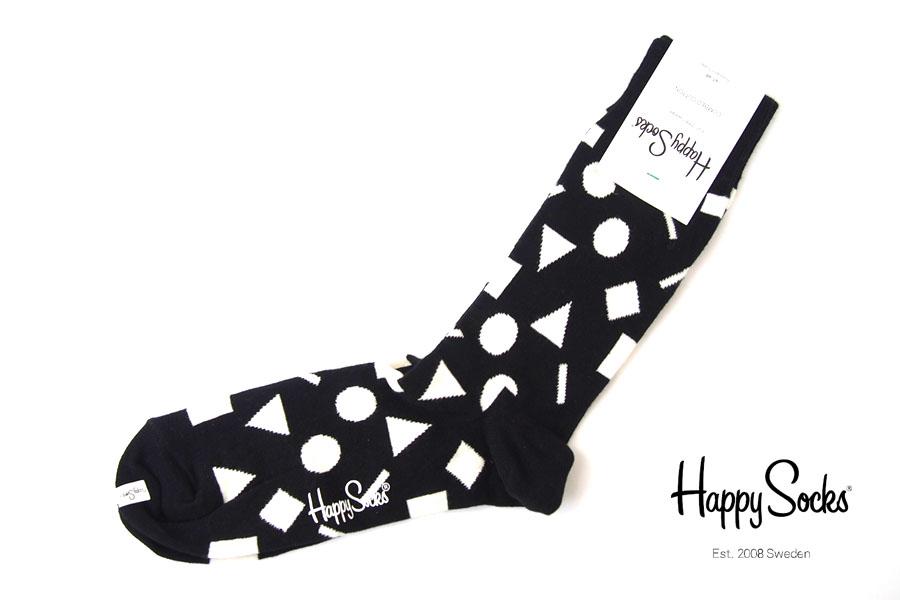 ハッピーソックス|happy socks|クルー丈カジュアルソックス|ビッグハウンドトゥース柄ソックス|モノトーン|60-5086イメージ01