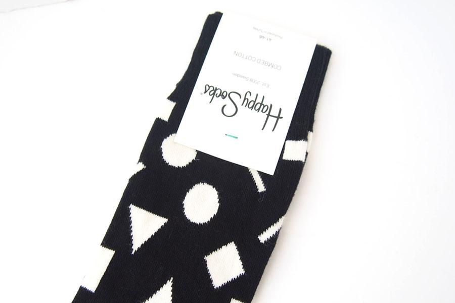ハッピーソックス|happy socks|クルー丈カジュアルソックス|ビッグハウンドトゥース柄ソックス|モノトーン|60-5086イメージ02