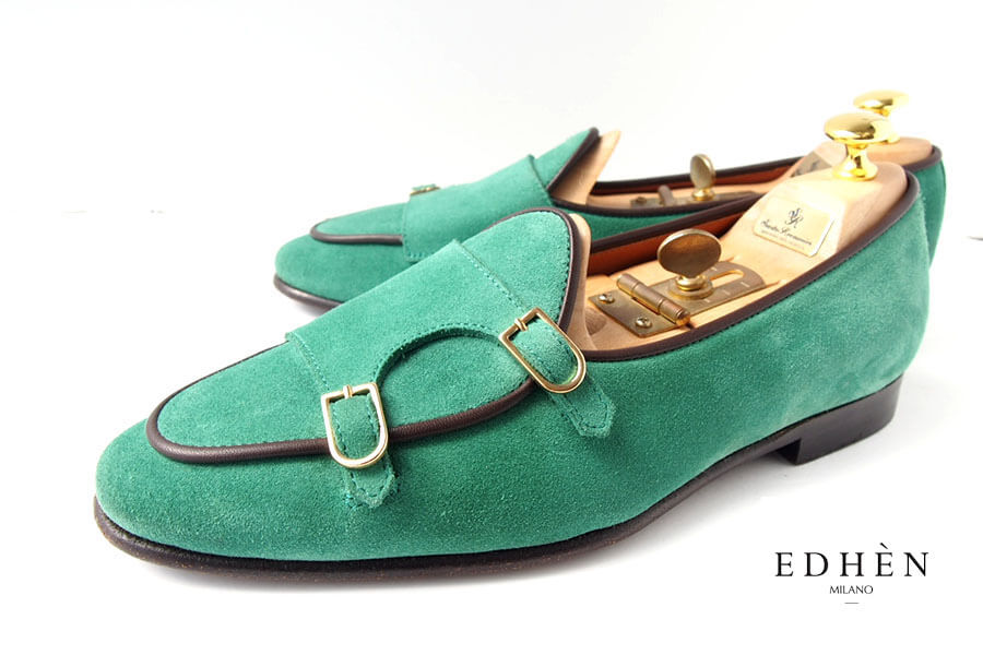 エデン|EDHEN MILANO|ダブルモンクストラップスリッポン|スエード|BRERA|39|5|グリーンイメージ01