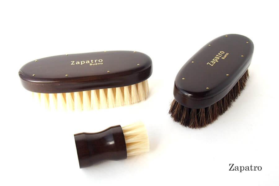 ザパトロ|Zapatro Bueno|ポリッシュブラシセット|ホースヘア×ピッグヘア×クリーム付けブラシ3本|スミブラックイメージ01