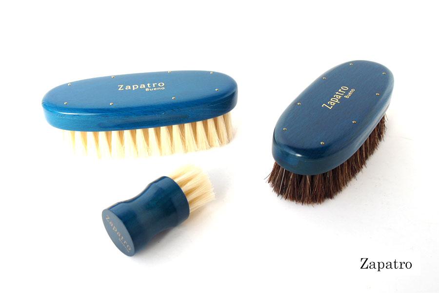 ザパトロ|Zapatro Bueno|ポリッシュブラシセット|ホースヘア×ピッグヘア×クリーム付けブラシ3本|ターコイズブルーイメージ01
