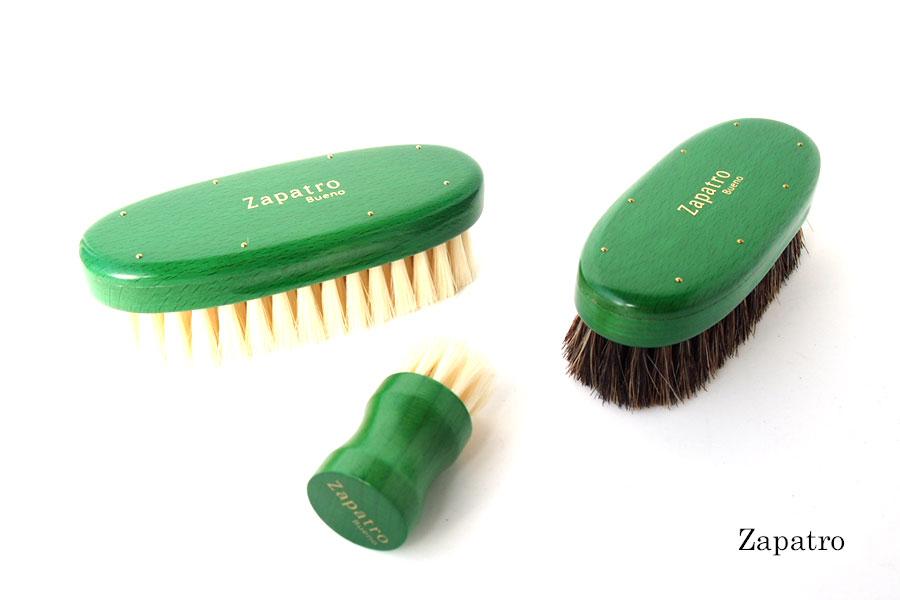 ザパトロ|Zapatro Bueno|ポリッシュブラシセット|ホースヘア×ピッグヘア×クリーム付けブラシ3本|グリーンイメージ01