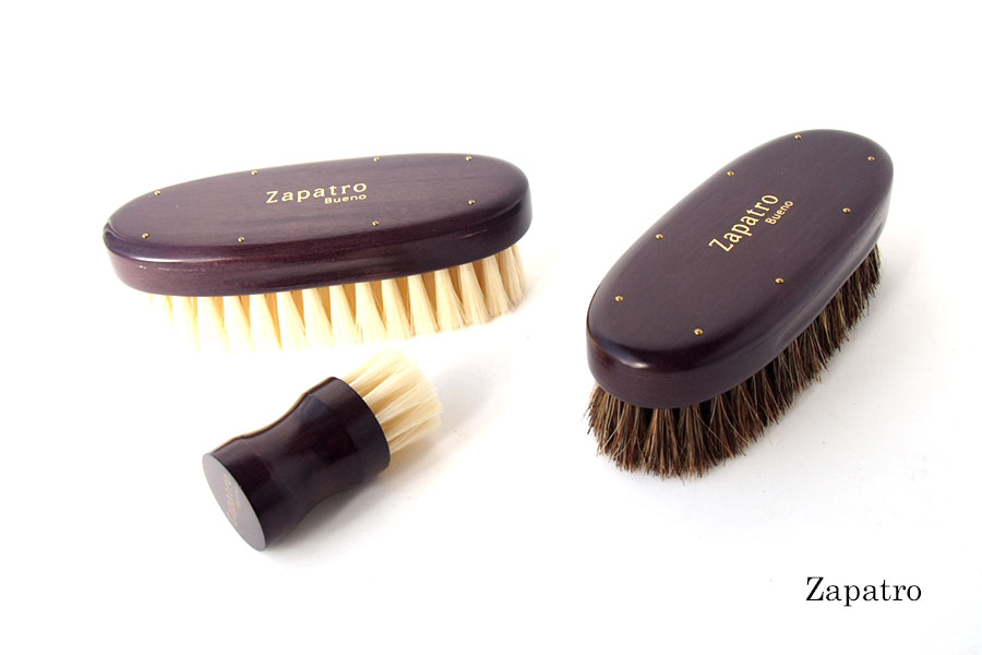 ザパトロ|Zapatro Bueno|ポリッシュブラシセット|ホースヘア×ピッグヘア×クリーム付けブラシ3本|パープルイメージ01