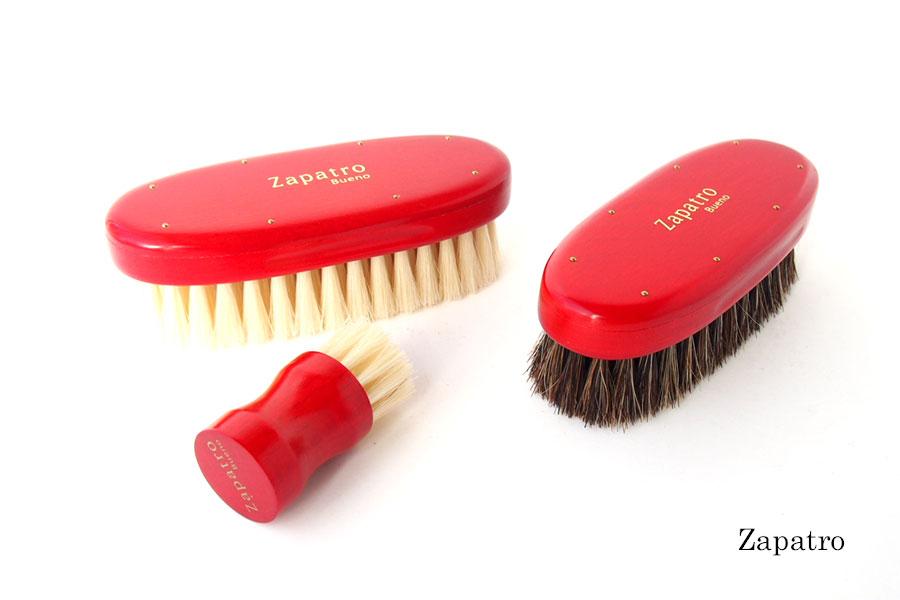 ザパトロ|Zapatro Bueno|ポリッシュブラシセット|ホースヘア×ピッグヘア×クリーム付けブラシ3本|レッドイメージ01