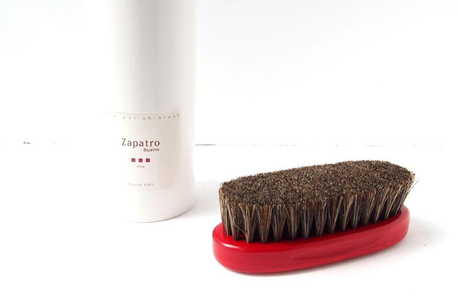 ザパトロ|Zapatro Bueno|ポリッシュブラシセット|ホースヘア×ピッグヘア×クリーム付けブラシ3本|レッドイメージ02