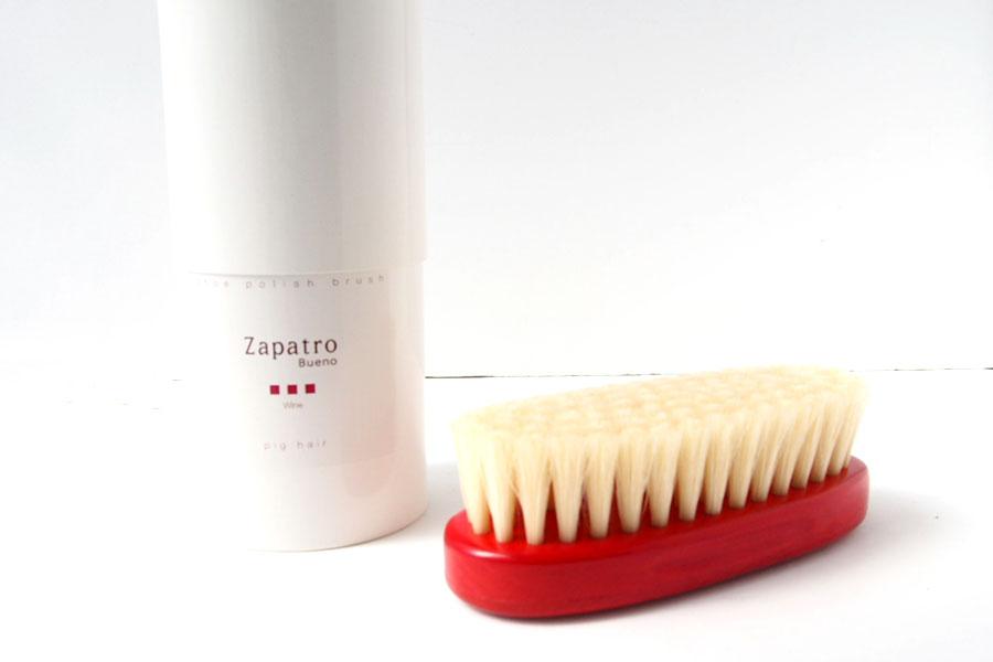ザパトロ|Zapatro Bueno|ポリッシュブラシセット|ホースヘア×ピッグヘア×クリーム付けブラシ3本|レッドイメージ04