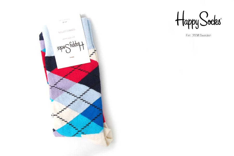 ハッピーソックス|happy socks|クルー丈カジュアルソックス|アーガイル柄ソックスイメージ01