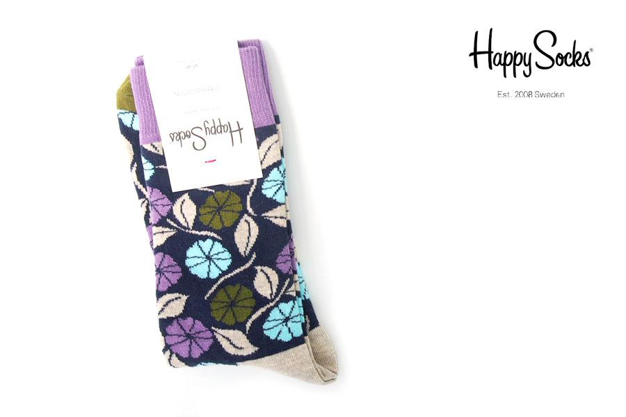 ハッピーソックス|happy socks|クルー丈カジュアルソックス|フラワー柄ソックスイメージ01
