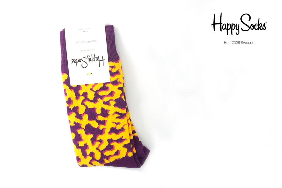 ハッピーソックス|happy socks|クルー丈カジュアルソックス|パープル×イエローイメージ01