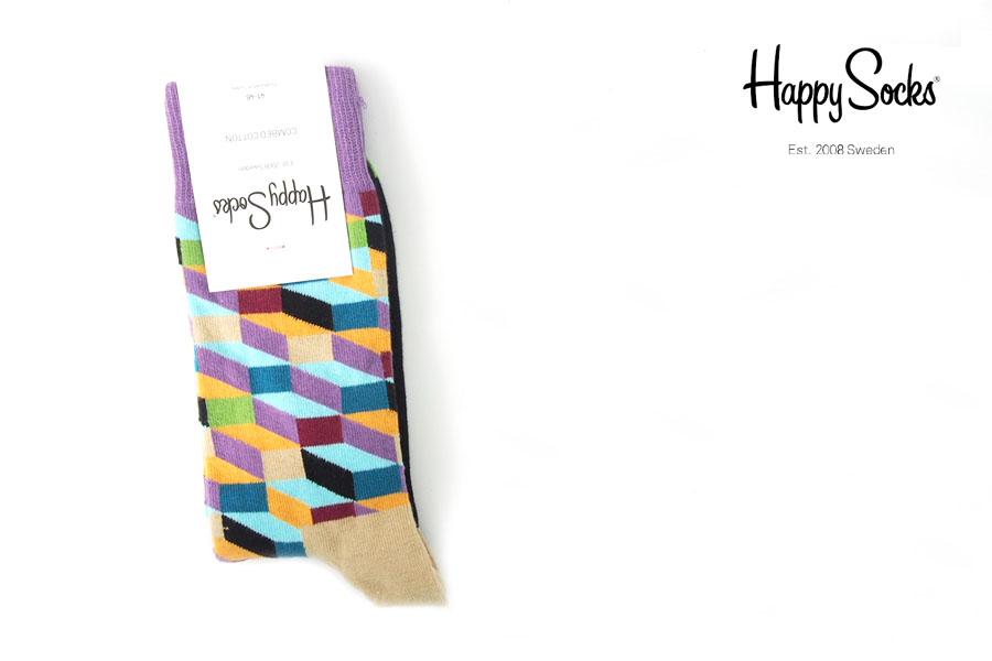 ハッピーソックス|happy socks|クルー丈カジュアルソックス|オプティックソックス|FILLED OPTIC SOCK|マルチイメージ01