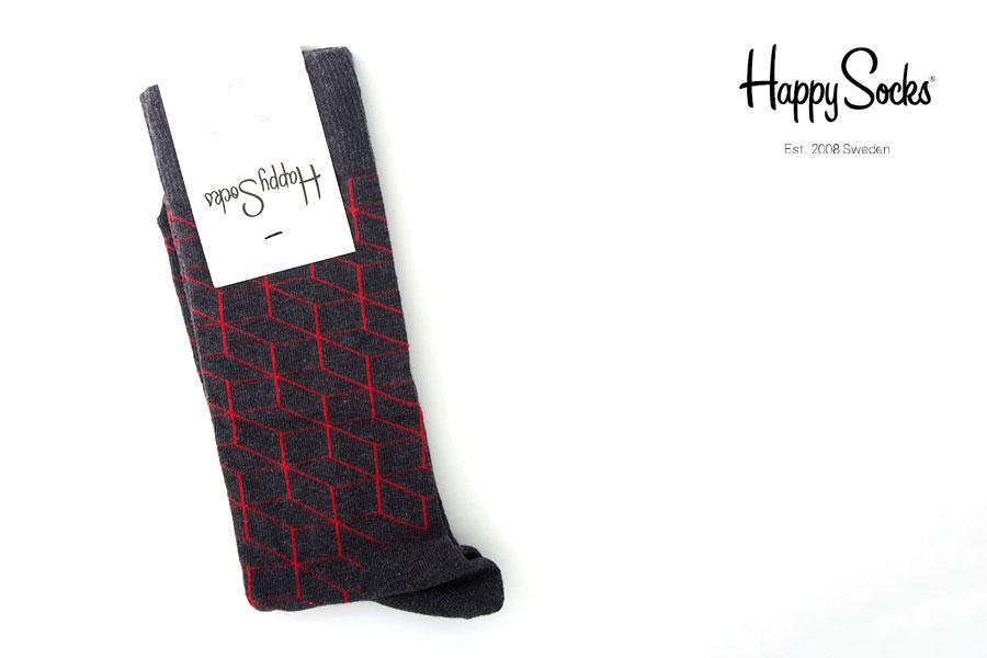 ハッピーソックス|happy socks|クルー丈カジュアルソックス|オプティックソックス|FILLED OPTIC SOCK|グレイイメージ01