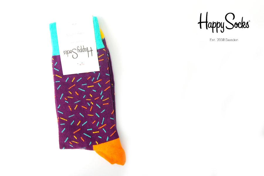 ハッピーソックス|happy socks|クルー丈カジュアルソックス|パープル×オレンジ×ブルーイメージ01