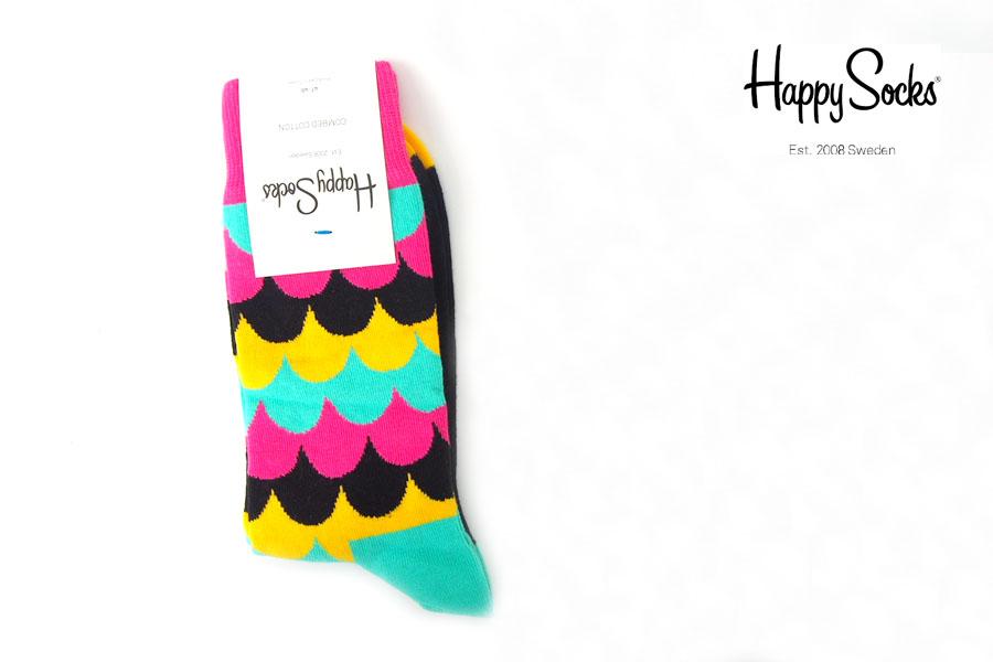 ハッピーソックス happy socks クルー丈カジュアルソックス マルチ柄ソックス ピンク×イエロー×ライトブルーイメージ01