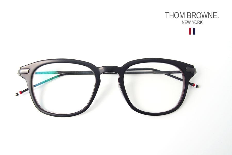 トムブラウン|THOM BROWNE NEW YORK|ウェリントン型メガネフレーム|アイウェア|TB-704-C-BLK-BLK-49イメージ01