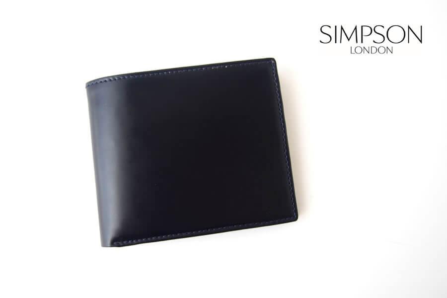 シンプソン ロンドン|SIMPSON LONDON|小銭入れ付き2つ折り財布|コードバン|ネイビーイメージ01